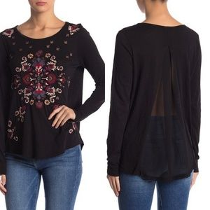 Lucky Brand Floral Embroidered Sheer Back Top